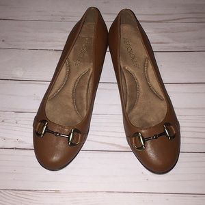 Aerosole brown buckle shoes